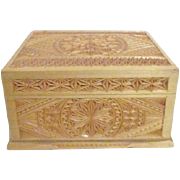 Intricately Carved Lined and Lidded Wood box
