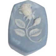 Blue Stone Box with Applied White Rose from St. Thomas