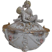 Porcelain Box with Young Couple on Lid Gold Highlights