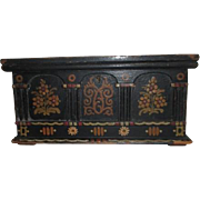 Old Folk Art Hand Painted Casket Style Box