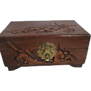 Small Wooden Jewelry Box with Carved Exterior Mirror and Lined Inside