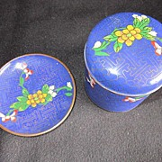 Vintage Chinese Cloisonne Cigarette Box with Ash Tray