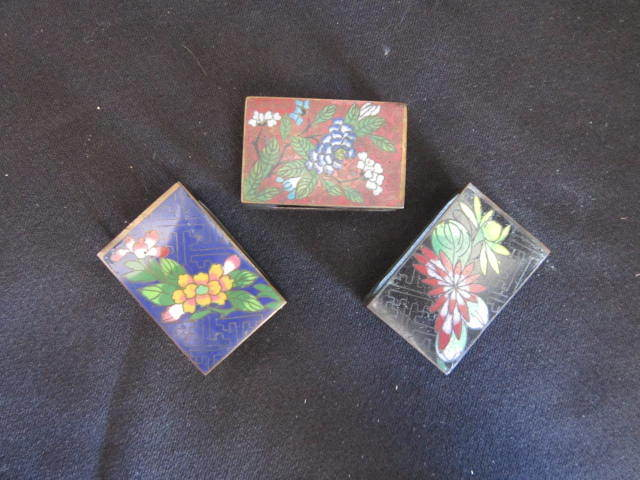 Vintage Cloisonne Match Box Covers Set of 3