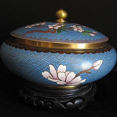Cloisonne Covered Bowl With Stand circa 1970