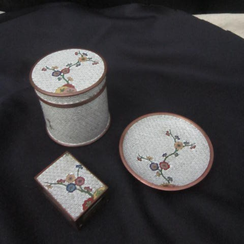 Vintage Cloisonne 3 Piece Cigarette Box, Ash Tray, and Match Box Holder