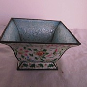 Vintage Enamel Footed 4 sided Oriental Planter