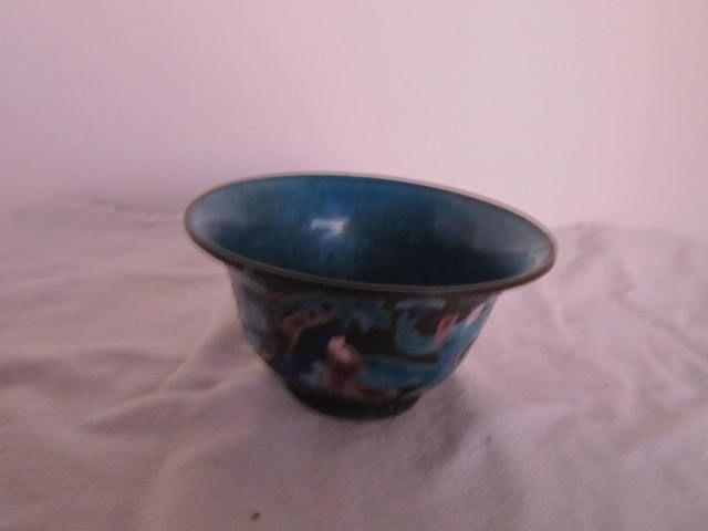 Vintage Enamel Oriental Blue Bowl