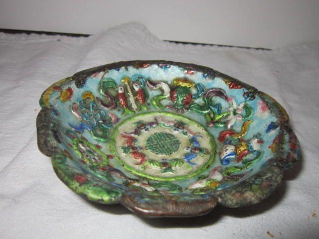 Old Vintage Enamel Oriental Dish