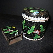 Vintage Cloisonne Jar with Lid and Match Box Cover