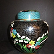 Vintage Oriental Cloisonne Medium Size Jar with Lid