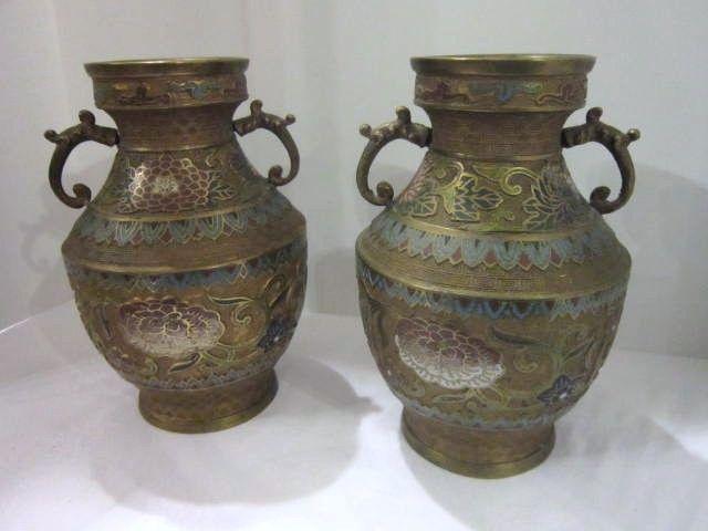 Vintage Pair Champleve Brass Vases Something Wonderful Ruby Lane