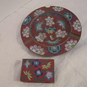 Vintage Cloisonne Ash Tray and Matchbox Case