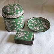 3 Piece Cloisonne Cigarette Set Apple Green