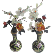 Pair of Miniature Black Cloisonne Flowered Vases with Hand Carved Jade & Carnelian Flowers & Leaves