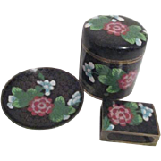 Black and Floral 3 Piece Cloisonne Cigarette Set