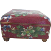 Cloisonne Footed and Hinged Box Floral Design