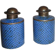 Blue Cloisonne Salt & Pepper Shakers