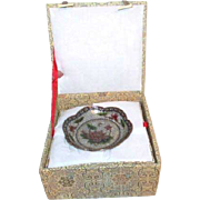 Cloisonne Plique-a-jour Bowl with Lotus Blossom in Box with Display Stand