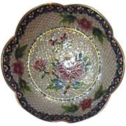 Cloisonne Plique-a-jour Bowl with Flowers and Butterfly in Box with Display Stand