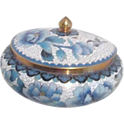 Cloisonne Lidded Bowl with Blue Flowers and Birds.