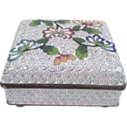 Cloisonne Footed and Hinged Lid Box with Stylized Chrysanthemums