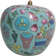 Cloisonne Lidded Bowl with Fruits and Vases Decorations and Gold Trim