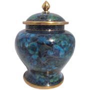 Cloisonne Lidded Jar in Blues and Greens