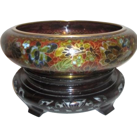 Wide cloisonne bowl with carved wooden stand from for Cloison stand