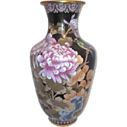 "Large 20"" High Cloisonne Vase with Chrysanthemums"