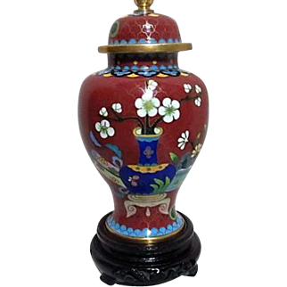Lidded Cloisonne Ginger Jar with Cherry Blossoms
