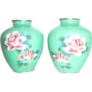 Pair of Japanese Cloisonne Vases Green with Pink Roses Cloydon Cloisonne Co., Ltd