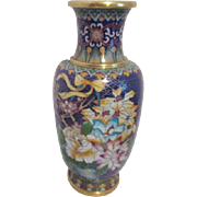 Cloisonne Vase Blue with Flowers All Around, Detailed Butterfly and Ribbon