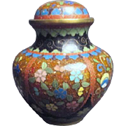 Small Japanese Cloisonne Lidded Jar Missing Finial on Lid