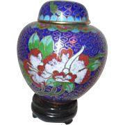 Small Blue Chinese Cloisonne Ginger Jar with Flowers Wood Stand and Original Box