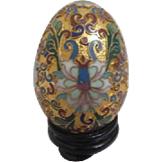 Chinese Cloisonne Champleve Egg with Stand In Box