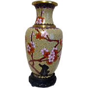 "7 3/4"" Cloisonne Vase with Carved Wooden Stand"