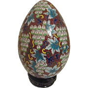 Large Cloisonne Egg with Grape Motif and Birds