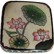 Cloisonne Lidded Footed Box with Water Lilies on Lid Traditional Designs on Sides
