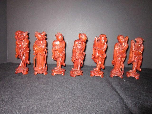 Vintage Wood Carvings of 7 Chinese Immortal Gods