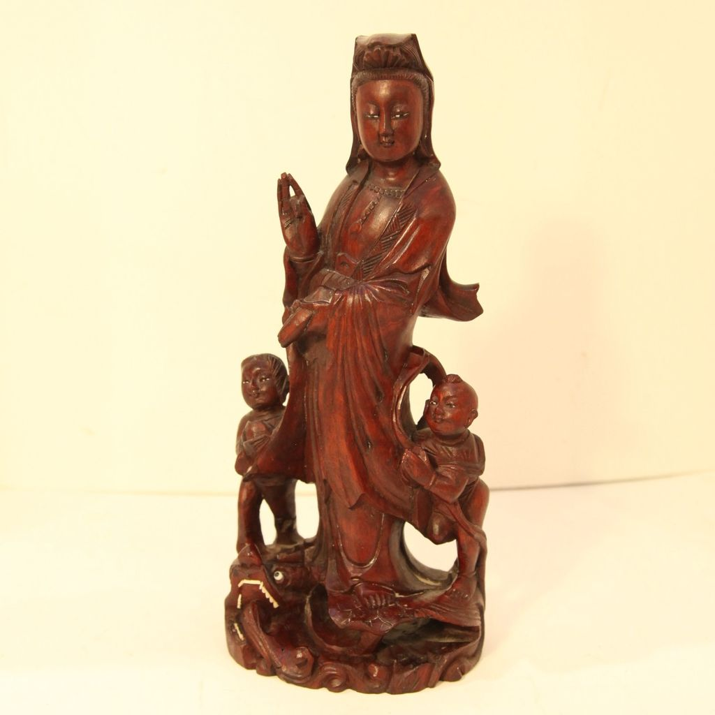 Vintage Wood Carving of Woman with Two Children