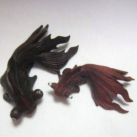 Two Hand Carved Fish