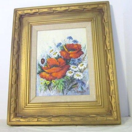 Oil on Canvas Painting of Bouquet of Flowers Signed by Carolyn Raff