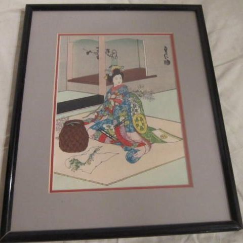 "Vintage Japanese Wood Block Print by Sadanobu Hasegawa, ""Maiko Girl Doing Flower Arrangements"""