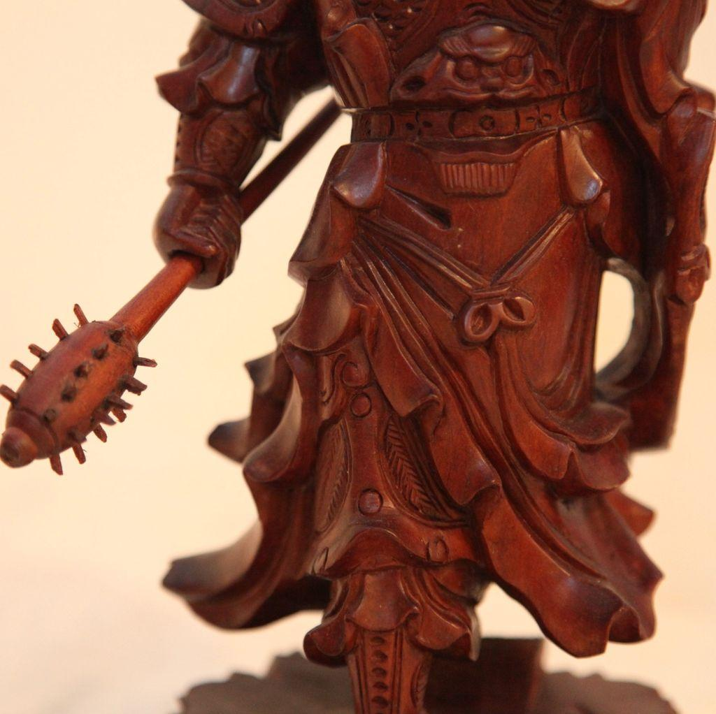 Vintage Wood Carving Of Chinese Warrior From