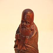 Vintage Japanese Wood Carving of an Old Man By Fukuro Kuju