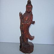 Vintage Chinese Wood Carving of a Woman Holding a Basket