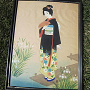 Vintage Japanese Watercolor on Silk of Girl with Fan