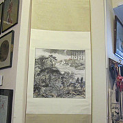 Vintage Oriental Mountain Scene Hanging Scroll