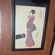 Japanese Print of a Wood Block Print Of A Geisha Standing, Signed