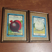 "Pair of ""Burt's Seed for Quality"" Onion and Beet Pictures"